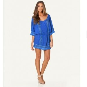 VIX Blue Crochet and Fringed Beach Cover Up